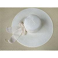 osisdfwa la Playa Playa Sombreros Sombreros Large Cap Fallen a lo largo del Bow Tie Round Top grandes Eaves Tapa, crema