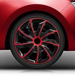 Eight Tec Handelsagentur Farbe Größe Wählbar 14 Zoll Radkappen Radzierblenden Quad Bicolor Schwarz Rot Passend Für Fast Alle Fahrzeugtypen Universal Auto