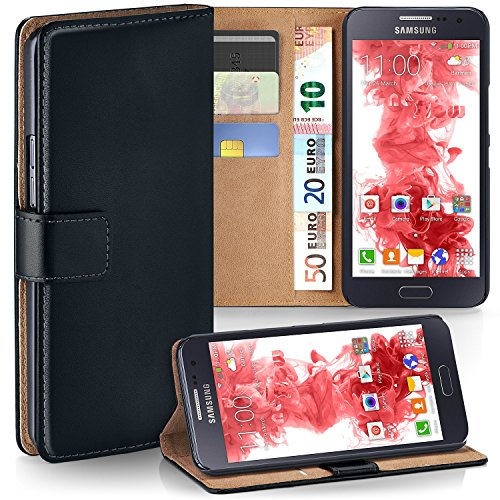 moex Samsung Galaxy A3 (2015) | Hülle Schwarz mit Karten-Fach 360° Book Klapp-Hülle Handytasche Kunst-Leder Handyhülle für Samsung Galaxy A3 2015 Case Flip Cover Schutzhülle Tasche