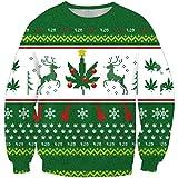 LvRao Männer Weihnachten Pullover Jumper Sweatshirts Tops 3D Druck Langarm X-mas Shirt Pulli (Rentier #Pullover, Asia 6XL)