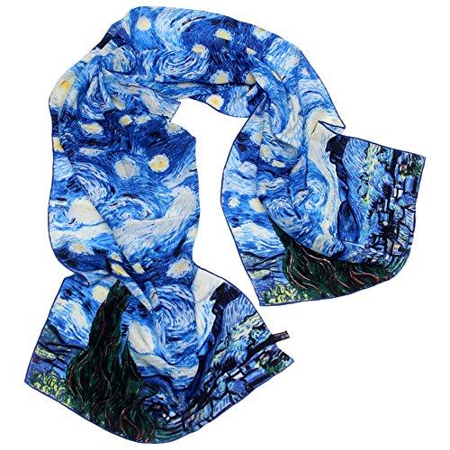 TONY&CANDICE 100% Seide Luxuriöser Charmeuse Art Collection lange Schal-Schal mit der Hand gerollten Rand, 157*40 CM (Van Gogh