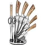 Velaze, Set de Couteaux de Cuisine Ensemble de 8 Pièces, Couteau de Chef Professionel en Acier Inoxydable avec Aguiseur et Ci