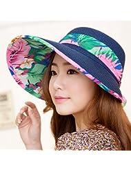 LKMNJ La Sra. Sun Sombreros Sombreros Sombrero de Paja de cinta vacía decoración Top Beach ,Azul marino