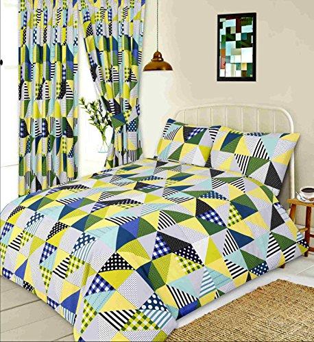 Geo Tröster Set (Doppelbett Geo Patchwork Bezug, Bettdecke/Quilt Lime Set, geometrische Formen Quadrate Dreiecke Gingham Überprüfen Polka Dot Spots Linien Streifen grün gelb cremefarben, Grau Blau)