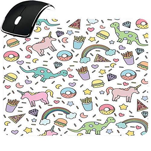 EREMITI JEWELS Personalised Mouse Mat with Dinosaurs Pony Rainbow Pizza Fried Potatoes