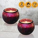 Duftkerze Geschenk-Set, Handgefertigt 7.4oz X 2 Pack Duft Lavendel Travel Candle, großes Glas 100% Sojawachs Kerze für Stress Relief und Aromatherapie, Innen- und Außeneinsatz, Ideal als Geschenk Kerzen