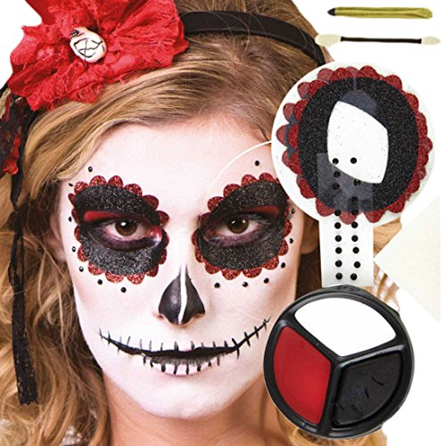 m Karneval Schminkset Day of the Dead Death Muerta, Mehrfarbig (Halloween-make-up Schwarz Zähne)
