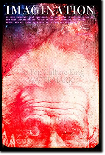 """Albert Einstein Poster Fotografico """"IMAGINATION"""" (Con replica di Autografo). Rara Stampa Artistica Idea Regalo 30x20cm Cartellone"""