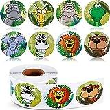 meekoo 500 Pezzi Animali Adesivi Zoo Animale Rotolo Adesivi 1-1/2 Pollici Autoadesivo Etichetta a Forma Animale Decalcomanie da Muro per Bambini Favori di Festa, 8 Stili