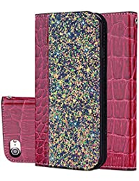 Nadoli Glitzer Hülle für iPhone 5 5S SE,Bling Flip PU Leder Schütz mit Bookstyle Stand Klapphülle Bumper Case Cover für iPhone 5 5S SE,Rot