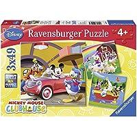 Ravensburger-9247 Mouse Mickey Puzzle Triple 3x49 Piezas Color Azul, Rojo 5+ (9247