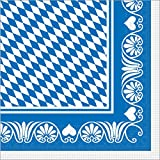 Sovie HORECA Oktoberfest-Deko Serviette | Bavaria Raute | 40x40 cm 100 STK Tissue | Wiesn Festzelt Bayrisch Gastronomie (Blau)