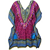 Mogul Interior Women's Kaftan Top Kimono Tunic Dress Dashiki Print Summer Evening Beach Cover Up One Size