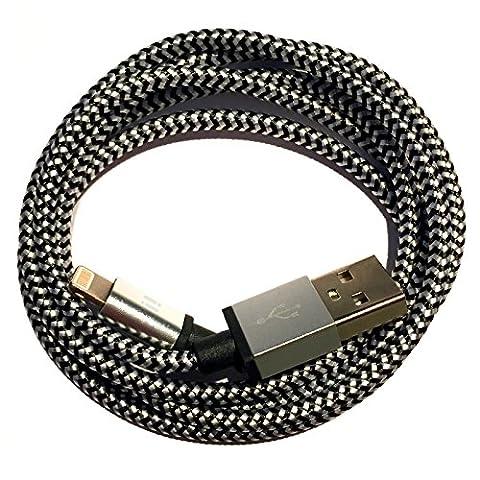 [Prem Itech] ® Premium Nylon Câble de chargement USB données câble Chargeur Alimentation Chargeur voiture compatible avec [Apple iPhone 7/7plus/6S/6splus/6/6plus/5S/5C/5/SE | iPad 4/Mini/Mini 2| iPod Touch (5e génération) iPod Nano (7ème génération)] Bleu