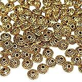 LJY 200Stück 6mm antik Spacer Perlen im europäischen Stil Perlen für Schmuckherstellung (Golden)