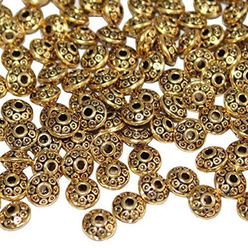 Ljy 200pezzi 6mm antico perline stile europeo, per fare gioielli (oro)
