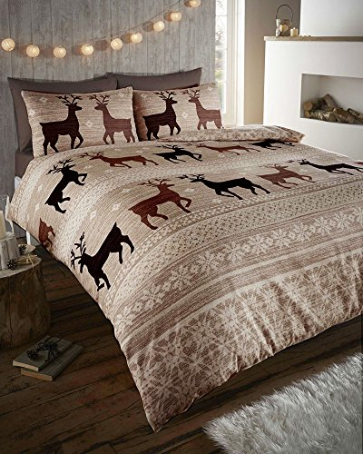 WARM & COSY SOFT BRUSHED COTTON DUVET COVER SETS (double, taupe brown) by HOMEMAKER BEDDING