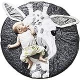 JYCRA Runder Teppich, Cartoon-Tier-Teppich, Baby-Baumwolle, Krabbelteppich, Spieldecke für Schlafzimmer, Wohnzimmer, Kinderzimmer Dekoration, Baumwolle, Giraffe, Diameter 90CM
