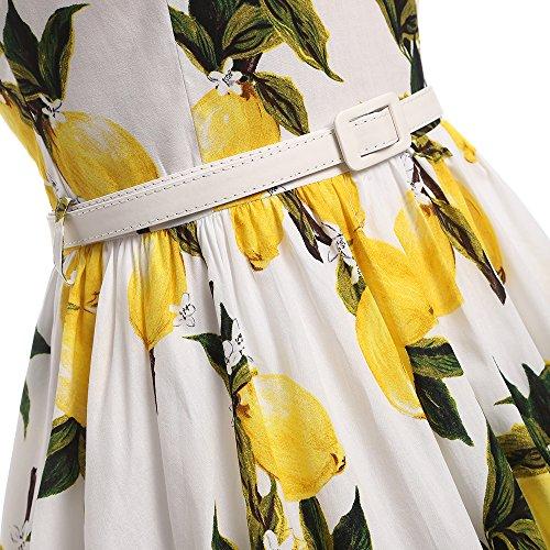MicBridal® 1950er Vintage Kleider Retro Cocktailkleid Schwingen Pinup Rockabilly Ballkleider Partykleid Weiß Lemon