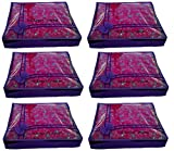 #10: Saree Cover in Non Woven Front Transparent Laced Designer Set of 6 Pcs, Wardrobe Organiser, Regular Clothes Bag by Indi Bargain™