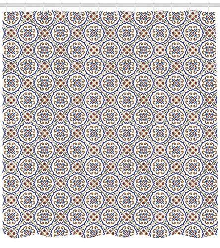 ABAKUHAUS Geometrisch Duschvorhang, Verziertes westliches Motiv, mit 12 Ringe Set Wasserdicht Stielvoll Modern Farbfest und Schimmel Resistent, 175x240 cm, Mehrfarbig