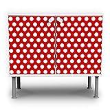banjado Badunterschrank 60x55x35cm Design Waschbeckenunterschrank mit Motiv Punkte Rot