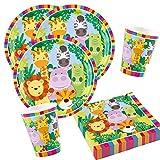 36-teiliges Party-Set Tiere - Dschungel - Jungle - Löwe, Zebra, Giraffe, Krokodil - Teller Becher Servietten für 8 Kinder