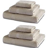Biancheria da Bagno in Bambù - Set Asciugamani da Bagno Doppio - 600gsm - Latte - 2 x Asciugamano da Bagno - 130cm x 70cm, 2 x Asciugamano Per le Mani - 90cm x 50cm & 2 x Asciugamani Per Il Viso - 30cm x