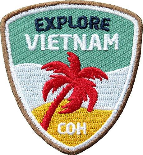 2 x Vietnam Abzeichen 55 x 60 mm gestickt / Explore Vietnam Backpacker Trekking Reise Asien / Aufnäher Aufbügler Flicken Sticker Patch / für Kleidung Rucksack / Reiseführer Landkarte Karte Bildband