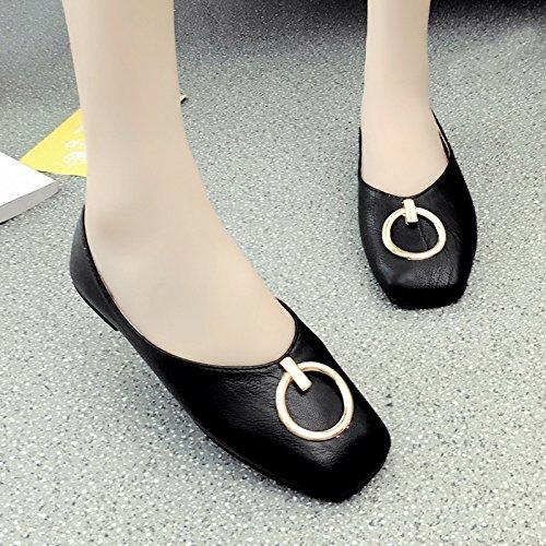 RUGAI-UE Vintage a fondo piatto sandali estivi luce Vintage bocca tacco piatto Round fibbia Calzature Donna Black