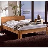 Pharao24 Bett aus Eiche Massivholz geölt und gebürstet Breite 98 cm Liegefläche 90x200 Stütz-Steg