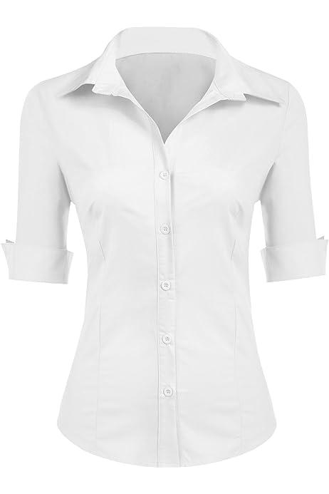 UNibelle Blusa para mujer, camisa entallada, manga 3/4 ...