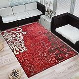 Moderner Design Kurzflor Teppich »Ornamento«, Größe:160x230 cm, Farbe:rot/creme/braun