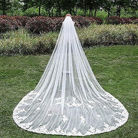 Accesorios de boda de lujo del cordón tejido en hilo blanco de marfil de la cola de la novia largo velo