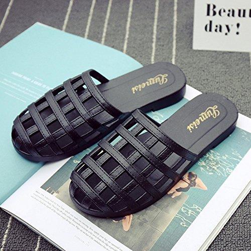 DogHaccd pantofole,La sig.ra estate cool pantofole ed elegante soggiorno di casa con una in plastica antiscivolo piscina spiaggia balneare pantofole marea femmina Nero2