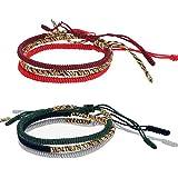 Kiwochy, Lot de 6 bracelets tibétains tressés, porte-bonheur réglables, couleurs assorties