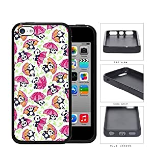 MMZ DIY PHONE CASEBaby Panda Playing With Umbrella And Bamboo Rubber Silicone TPU Cell Phone Case Apple ipod touch 5