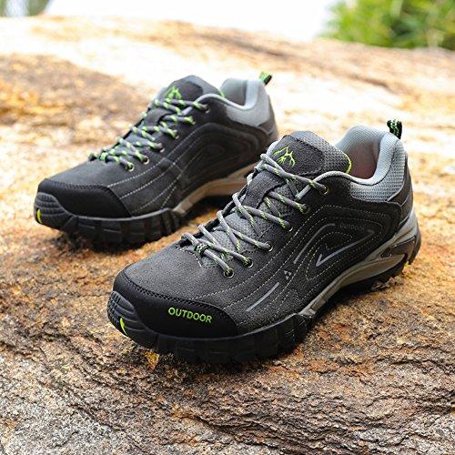 GOMNEAR Randonnée Chaussures de Marche en Plein Air des Hommes en Daim Haut Chaussures de Course en Daim Gris