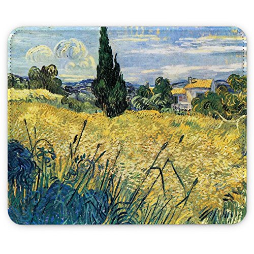 Van Gogh - Green Wheat Field With Cypress, Pelle Mouse Pad Tappetino per Mouse Mouse (Di Apple Desktop Pelle)