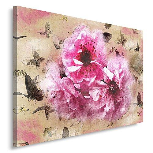 Feeby. Cuadro en lienzo - 1 Parte - 40x60 cm, Imagen impresión Pintura decoración Cuadros de una pieza, FLORES, NATURALEZA, VINTAGE, ROSADO