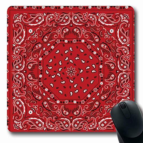 Mousepads Kopf Muster rot Bandana Vintage Maßwerk Paisley Bandanna Schal Classic Abstract Rose rutschfeste Gaming Mouse Pad Gummi längliche Matte -
