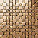 Mezcla de cristal de acero inoxidable mosaico pared del modelo Azulejos de mosaico Art Deco acero inoxidable mosaico 300*300mm Cocina backsplash / ducha de pared de la pared de la pared / Hotel pasillo pared de la frontera / piso residencial de piso y aplicaciones de la pared(SA004-20/26) (1 pieza(300*300mm), SA004-20)