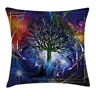 ZHIZIQIU Nature Throw Pillow Cushion Cover, Human Hand Grabs a Leafless Tree Vitality Symbol Modern Hippie Karma Artisan Theme, Decorative Square Accent Pillow Case, 18 X 18 Inches, Blue Purple