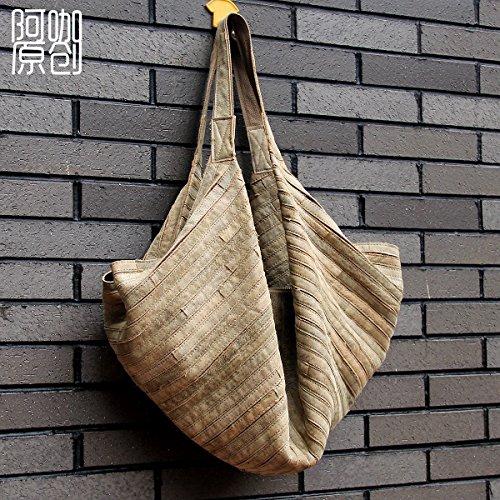 Sac en cuir en cuir de mode Joker grande diagonale sac épaule unique de loisirs mobile New back-Brown