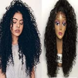 Mzp donne sintetiche Top Quality Fiber Lace Front Wigs Loose Curly WIG 180% Density nera resistente al calore capelli, colore nero, grande