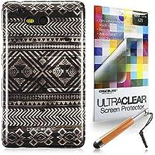 CaseiLike ® Indian 2050 Hybrid Streifen Tribal Theme Muster, Snap-on wieder Gehäuse für Nokia Lumia 820 + Schutzfolie Crystal Stylus Stifte (zufällige Farbe)