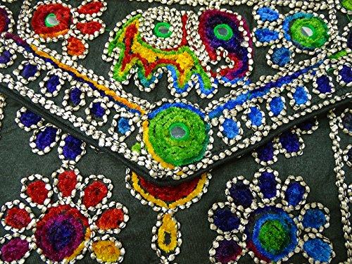 Frauen Traditionelle Suzani Bestickte Elefanten Design Kupplung Kreuz-Körper Schlinge Taschen Schwarz