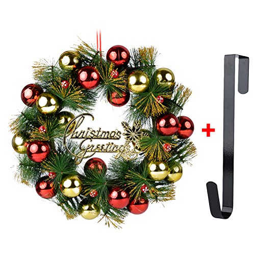 Coxeer Weihnachten Kranz, 16in Weihnachts Kranz glitzerndem Aufgehängte Kugeln Ornament Tür Decor Kranz mit Haken Zum Aufhängen, Christmas Decor, Einheitsgröße (Haken Zu Hängen Sie Einen Kranz)