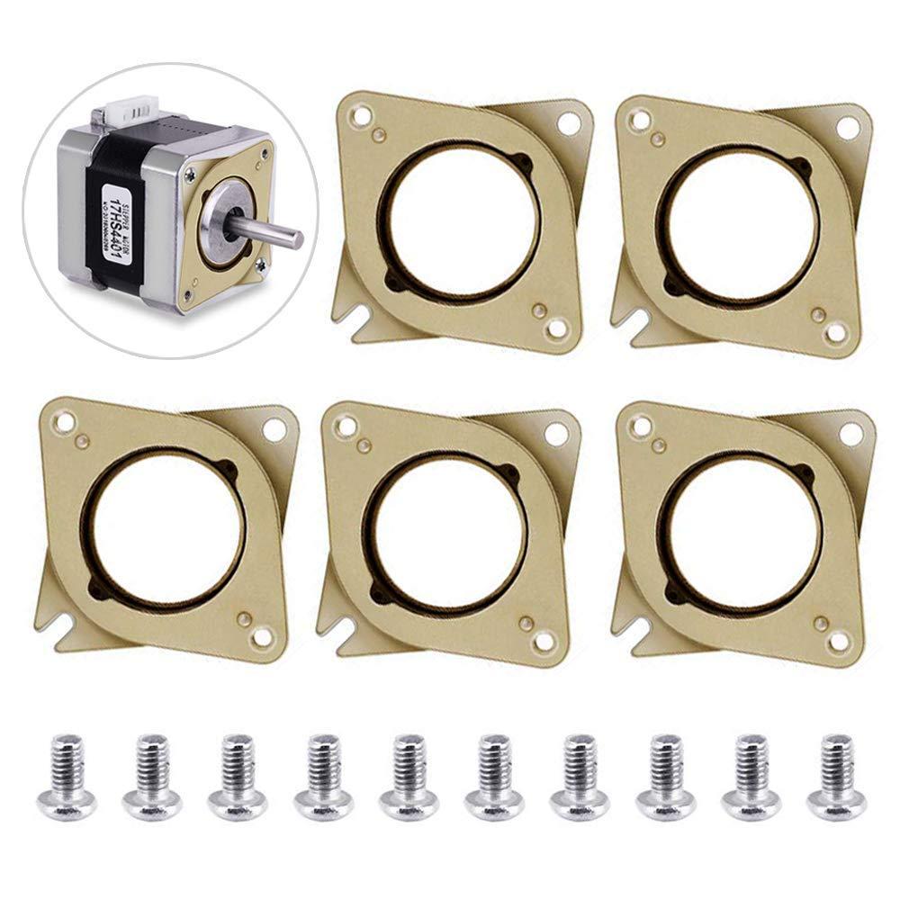 TopDirect 5 Pack NEMA 17 Moteur pas à pas en Acier et en Caoutchouc Vibrations Étouffoirs et 10 Pièces M3 5mm Vis pour Creality Ender 3, CR-10,10S, imprimante 3D, CNC