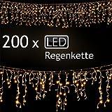 SSITG 200 LED Lichterkette Weihnachten Regenkette Lichtervorhang Eisregen Beleuchtung Deko